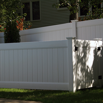 PVC Pool Filter Enclosure Fence installation near Syracuse NY - Gasparini Fence Company