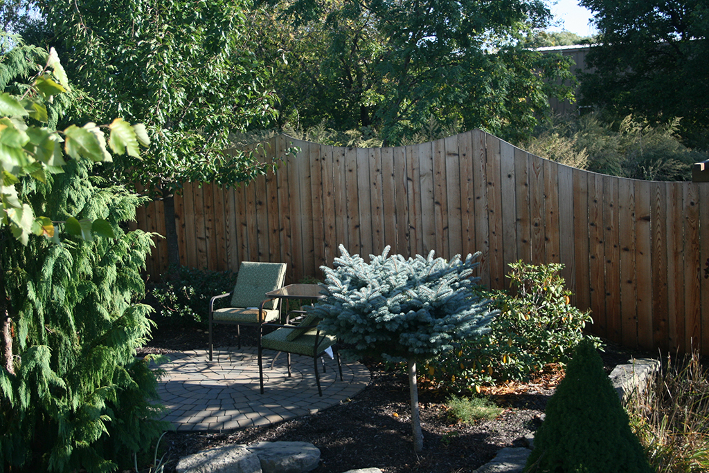 Wood Privacy Concave Fence Garden