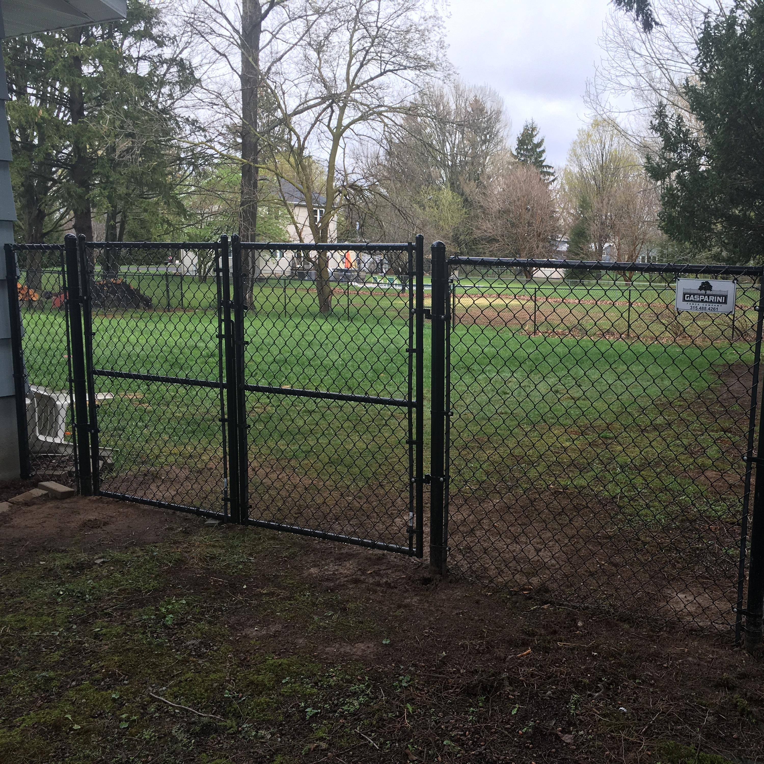 Black Chain Link Fence with Gate